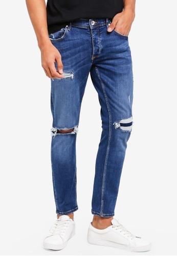 River Island blue Ripped Skinny Jeans 36DF0AA1BA3975GS_1