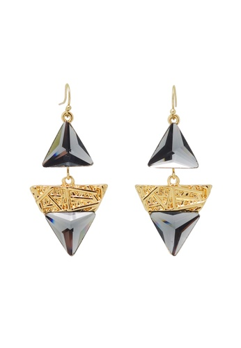 Jaysa Collection gold Avant Garde Dangle Earrings with Triangle Glass Jewels JA875AC0F48ASG_1