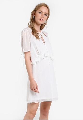 Miss Selfridge white Petite Frill Dobby Tea Dress MI665AA84DELMY_1