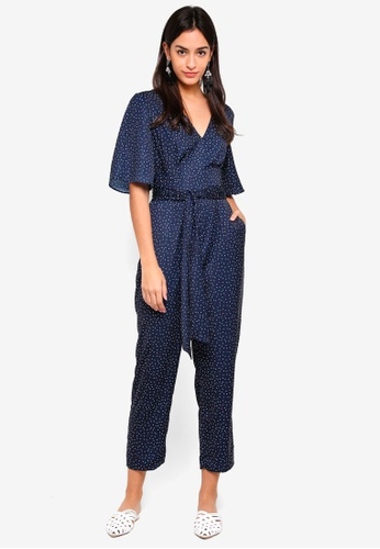 The Fifth Label blue and navy Rooftop Polka Dot Jumpsuit E951BAA8828AE6GS_1