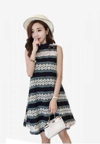 Lara multi Sleeveless Lace Round Neckline Dress for Women B2D10AA0C93CFFGS_1
