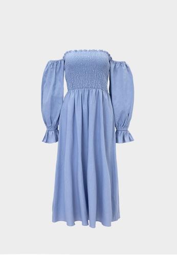 Pomelo blue Purpose Off Shoulder Smocked Dress - Blue 3A4BFAA4C50470GS_1