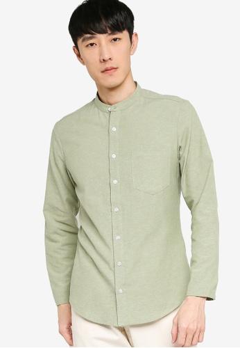 ZALORA BASICS green Skinny Fit Mandarin Collar Shirt AC337AA818FF34GS_1
