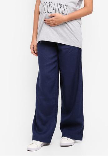 JoJo Maman Bébé navy Maternity Wide Leg Linen Trousers C38C8AAF2174E7GS_1