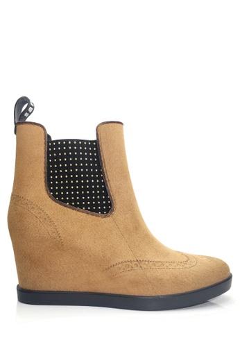 Twenty Eight Shoes 褐色 仿舊的船跟雨靴  VR52 A4C89SH4699FC3GS_1