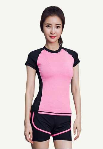 B-Code pink ZYG5156-Lady Quick Drying Running Fitness Yoga Sports Top and Leggings Two Pieces Set-Pink 55CC7AAC385EC4GS_1
