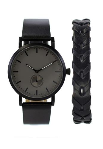 LEUPP black Kaoru Watch And Bracelet Pack 002F3AC6AB5467GS_1