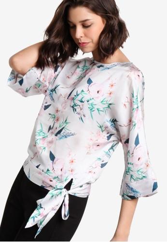Petite 側繫帶飾印花七分袖上衣, 服esprit分店飾, 上衣