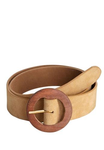 Mango brown Wood Buckle Leather Belt CEBECACF223360GS_1