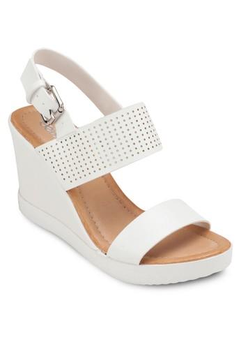 zalora退貨繞踝厚底楔型涼鞋, 女鞋, 楔形涼鞋