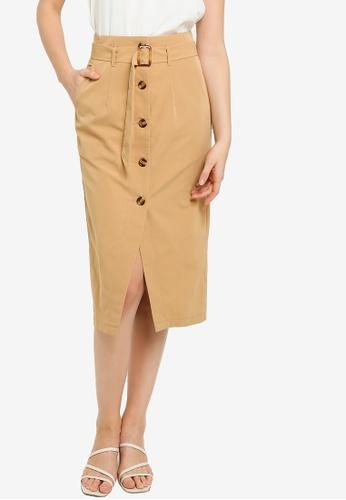 ZALORA WORK brown Button Down Skirt With Belt A824DAA8E2677BGS_1