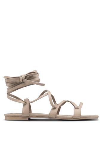 ZALORA beige Strappy Grecian-Look Sandals AOLFWSH0000047GS_1
