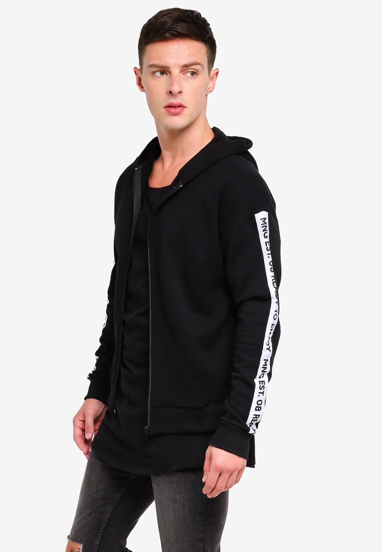 Hooded MANGO Sleeve Man Sweatshirt Long Black 57zwqxf