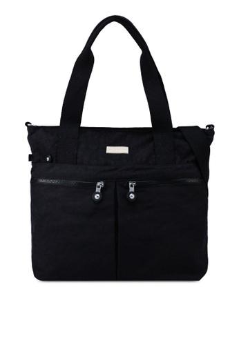 Bagstationz black Crinkled Nylon Travel Tote BFCABAC899E813GS_1
