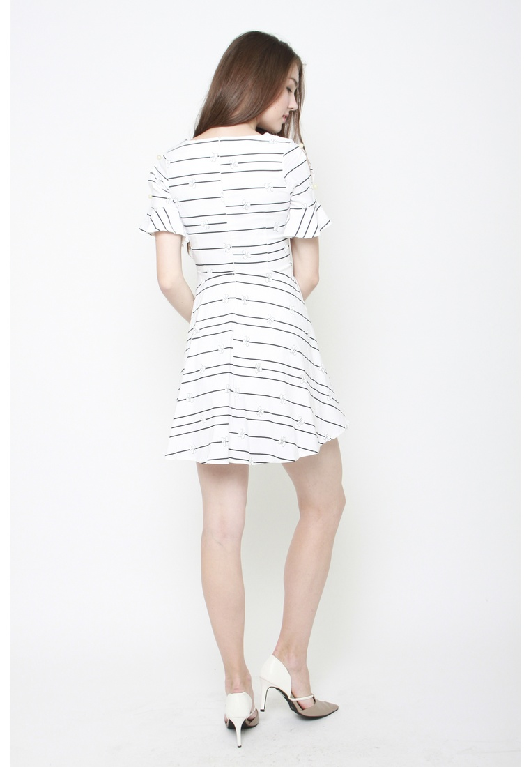 Work White Striped Sophialuv Set to Dress All Bow gqOFIH