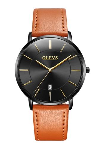 OLEVS multi Olevs Ultra Light Men Calendar Leather Quartz Watch F2B3FAC8658483GS_1
