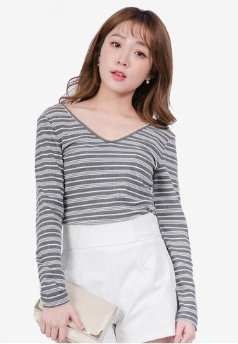 Yoco grey V Neck Striped Top A574FAA439C73CGS_1