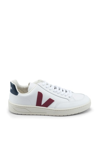 Veja white and red V-12 Leather Sneakers 507A4SHE3CEC6BGS_1
