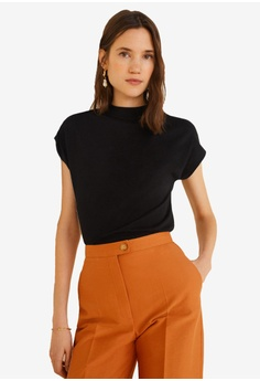 ecf9bec266 Mango black Ribbed Neck T-Shirt 0081EAAB395C7BGS 1