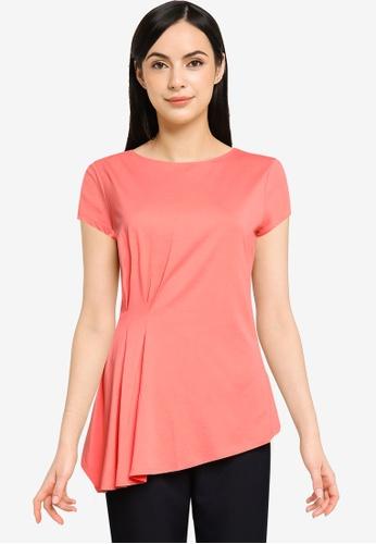 G2000 orange Pleated Mercerized Cotton Jersey Top 85209AA86349C7GS_1