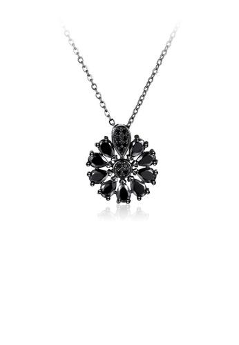 Glamorousky black Fashion Elegant Flower Pendant with Black Cubic Zircon and Necklace 9E1B1ACBFD3AC5GS_1