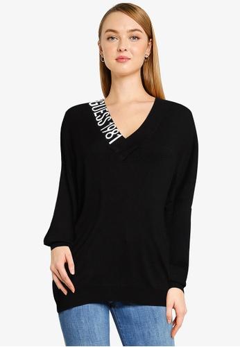 GUESS black Dalia V-Neck Sweater F39BDAA77B859BGS_1