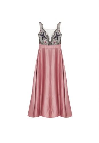 Megane pink Best Frenz Ayita Embroidery Long Dress 06EFBAA8F6D85CGS_1