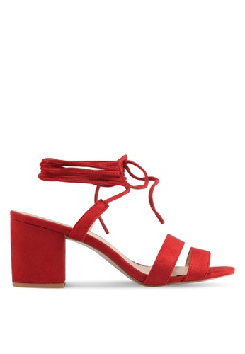 Public Desire red Virgo Strappy Lace Up Heeled Sandals 88777SH09935E8GS_1