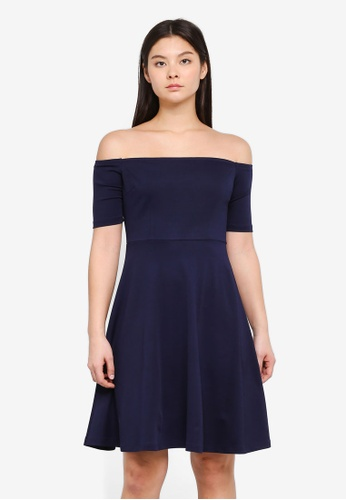 Something Borrowed navy Off Shoulder Midi Dress A1591AA01AD848GS_1