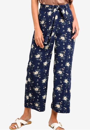 ZALORA multi and navy Wide Leg Pants With Tie 34AECAAF13661FGS_1