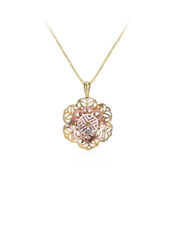 Glamorousky silver Classic Elegant Hollow Flower Pendant with Necklace 27332ACB6D534BGS_1