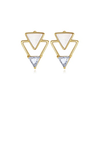 Glamorousky white 925 Sterling Silver Plated Gold Simple Personality Triangle Stud Earrings with Cubic Zirconia D872DAC03B695EGS_1