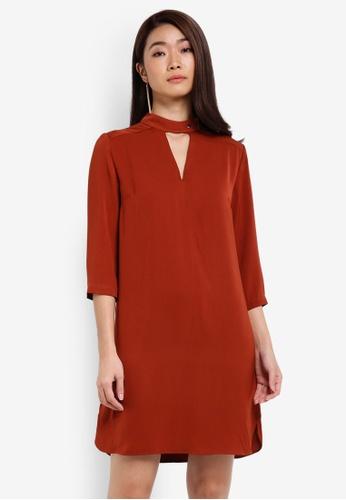 ZALORA orange High Neck Detail Shift Dress A991EAA43148A2GS_1