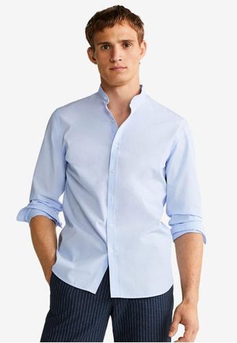 Mango Man 藍色 Slim Fit Mao Collar Shirt 6D57BAAA27ECD2GS_1