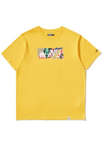 BLOCKAIT yellow X Marvel patchwork logo tee 7188FAADC5E494GS_1