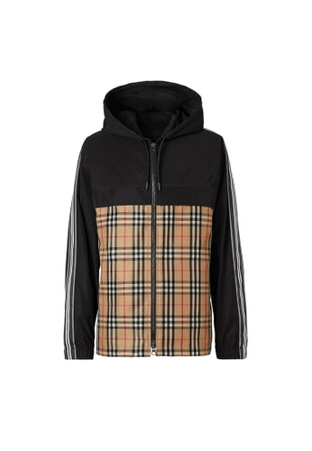 Burberry brown Burberry Check Panel Shape-Memory Taffeta Jacket in Archive Beige 726E2AA32DF319GS_1