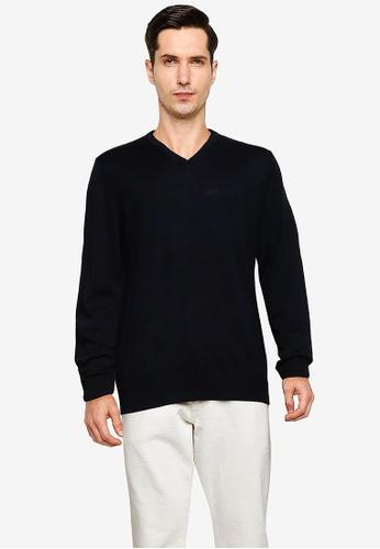 GAP 海軍藍色 Merino Vee Sweater 70FCFAA4420461GS_1
