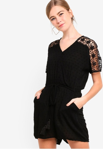 Something Borrowed black Lace Panelled Playsuit 5191EAA2CF779BGS_1