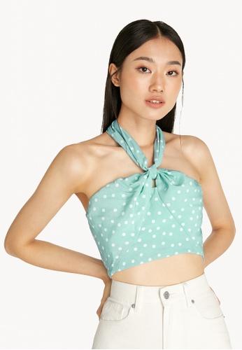 Pomelo blue Ruched Polka Dot Dress - Green C8916AA847E34BGS_1