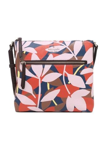 Kate Spade pink and multi Kate Spade Jackson Tropical Toss Top Zip Crossbody Bag WKRU6768 4834AAC21A0B89GS_1