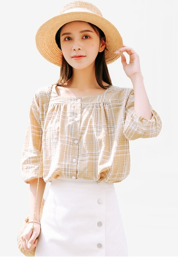 Shopsfashion beige Checked Blouse E6EE5AAFD593F6GS_1