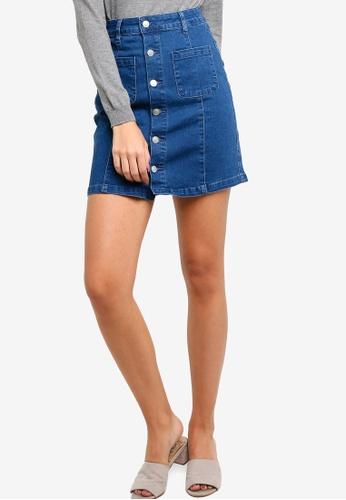 ZALORA blue Denim A-Line Mini Skirt 31A3DAABB93A9EGS_1