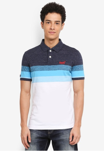 Superdry blue Classic Longbeach Polo Shirt 7C5F6AAD6CD8B5GS_1