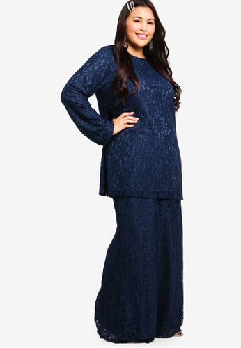 Straight Sleeves Lace Set from Lubna in Navy