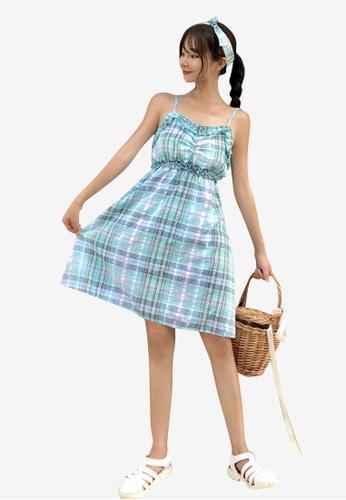 hk-ehunter green Camisole Grid Patterned Dress 0FB8AAAE86E090GS_1