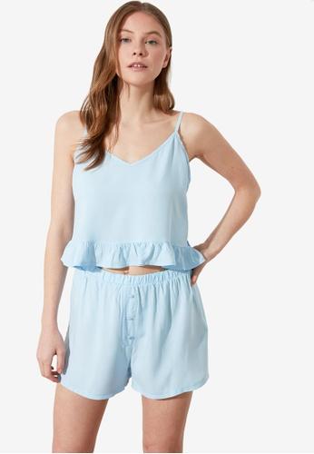 Trendyol 藍色 透明色 藍色 睡衣組 06628AA621E003GS_1
