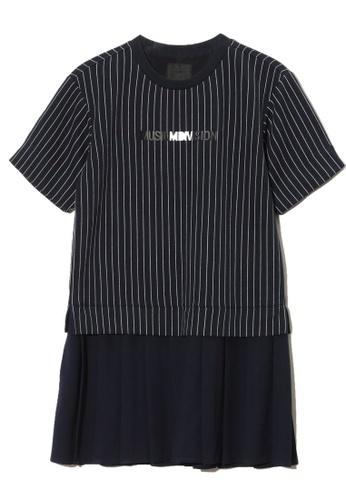 MUSIUM DIV navy Stripe pleated short sleeve dress 36E26AA9D14FE6GS_1