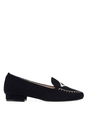 SPUR navy Geometry embroidered flats 0E81ASHC6C8AC3GS_1