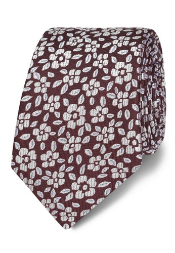 T.M. LEWIN red T.M.Lewin Burgundy Floral Jacquard Silk Slim Tie B9078ACE25189AGS_1