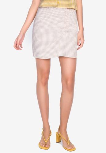 ZALORA BASICS 多色 Ruched Front Gingham Mini Skirt B90ACAA14E56B8GS_1